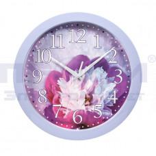 """Часы круглые сюжетные """"Пион"""" (сиреневая рамка) 285/238мм (Вега) П1-13/7-223"""