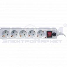 Сетевой фильтр Navigator NSP-05-180-ESC 5гн. 1,8м, зазем., выкл.